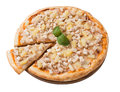 Tasty pizza with chicken and pineapple isolated Royalty Free Stock Photo