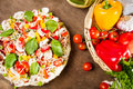 Tasty pizza made ​​with fresh vegetables Royalty Free Stock Images