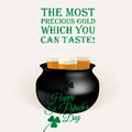 Tasty precious gold in kettle beer toast quotes illustrations for st patrick s day Royalty Free Stock Photography