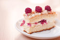 Tasty raspberry sponge cake Stock Photo