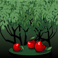 Tasty red apples in the mystic garden illustration with on table dark vector is eps all elements are grouped Royalty Free Stock Images