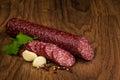 Tasty Salami Sausage  On Woode...