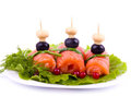 Tasty salmon rolls Stock Images