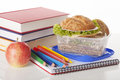 Tasty sandwiches and school supplies with green lettuce in container Stock Photography