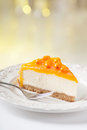 Tasty sea buckthorn cake slice on beautiful plate Royalty Free Stock Photography