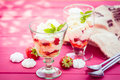 Tasty servings of strawberry pavlova Royalty Free Stock Photo