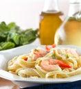 Tasty Shrimp Fettuccine Alfredo Stock Photo