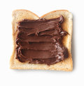 Tasty slice of bread with chocolate cream Stock Photos