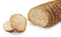 Tasty sliced bread with sesame seeds close up isolated on white background Royalty Free Stock Images