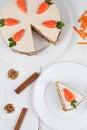 Tasty sliced easter carrot sponge cake with cream