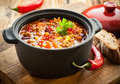 Tasty spicy chili con carne casserole in a pot for those winter nights high angle view Royalty Free Stock Photography