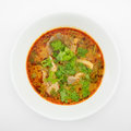 The tasty spicy pork tom yum soup hot and sour soup in white ceramic bowl homemade thai food Stock Photos