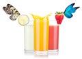 Tasty summer fruit drinks beautiful butterfly