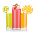 Tasty summer fruit drinks in glass with splash isolated on a white background Stock Photography