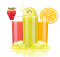 Tasty summer fruit drinks in glass with splash isolated on a white background Royalty Free Stock Image