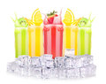 Tasty summer fruit drinks in glass with splash isolated on a white background Royalty Free Stock Photography
