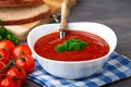 Tasty tomato soup with herbs Royalty Free Stock Photo