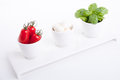 Tasty tomatoe mozzarella salad with basil on white Stock Photography