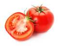 Tasty tomatoes isolated on the white background Royalty Free Stock Image