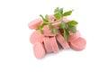 Tasty traditional pork sausages frankfurter snack on white Stock Photography