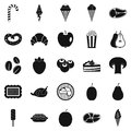 Tasty treats icons set, simple style Royalty Free Stock Photo