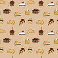 Tasty vector seamless pattern cakes biscuits p background for your design with sweets and croissants Stock Image