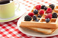 Tasty waffle with fruits Stock Photo