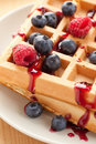 Tasty waffle with fruits Royalty Free Stock Photography