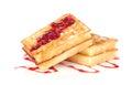 Tasty waffles with jam Stock Image