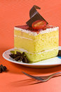 Tasty yellow cake with cream layer and chocol Royalty Free Stock Photo