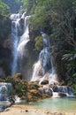 Tat kuang si waterfalls in the laos Royalty Free Stock Photo