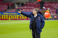 Tata martino gerardo coach of fcb at spanish cup match between fc barcelona and levante under an intense rain on january in Royalty Free Stock Photo