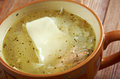 Tatar chicken noodle soup close up Stock Photo