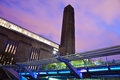 Tate modern and the millennium bridge at dusk in london Stock Images