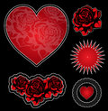 Tatoo design elements set heart roses Royalty Free Stock Photo
