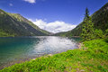 Tatra mountains and lake in poland eye of the sea Royalty Free Stock Photo