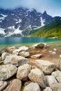 Tatra Mountains scenery stones lake beautiful nature Carpathians Royalty Free Stock Photo