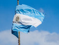 Tattered argentina flag after battling rough winter flies in the wind Royalty Free Stock Photo