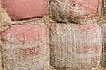Tattered sackcloth background. Old burlap with hole. Royalty Free Stock Photo