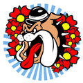 Tatto style emblem tattoo of a dog with hat and flowers Royalty Free Stock Image