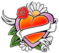 Tatto style emblem tattoo of love heart flowers and banners Stock Photography