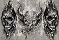 Tattoo art, 3 demons over grey background, Sketch Stock Photo