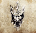 Tattoo art sketch of a devil with big horns hadmade over vintage paper Royalty Free Stock Photos