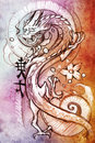 Tattoo art, sketch of a japanese dragon Stock Images