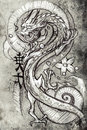 Tattoo art sketch of a japanese dragon handmade illustration over vintage background Royalty Free Stock Photos