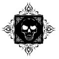 Tattoo black with skull and ornamental Stock Photo