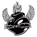 Tattoo chicano heart with flames monochrome version