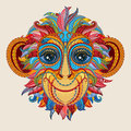 Tattoo design color head of the monkey. Royalty Free Stock Photo