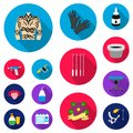 Tattoo, drawing on the body flat icons in set collection for design. Tattoo salon and equipment vector symbol stock web Royalty Free Stock Photo