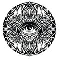 Tattoo eye in round floral  frame on white background Royalty Free Stock Photo